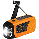 IntiPal 2000mAh, Emergency Solar Hand Crank FM Radio, MP3 Player, Flashlight, Smart Cell Phone Charger w/ USB Cable (Yellow)