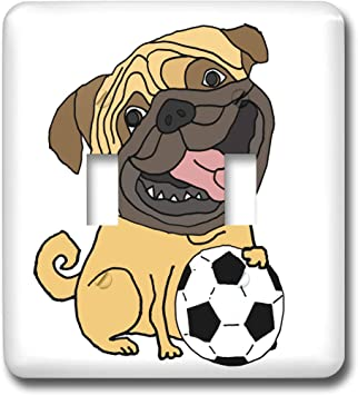 3drose All Smiles Art Pets Funny Cute Pug Puppy Dog Playing Soccer Or Football Cartoon Double Toggle Switch Lsp 309100 2