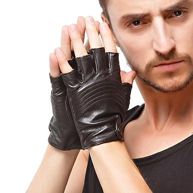 Nappaglo Lambskin Leather Half Finger Driving Outdoor Men Fingerless Gloves
