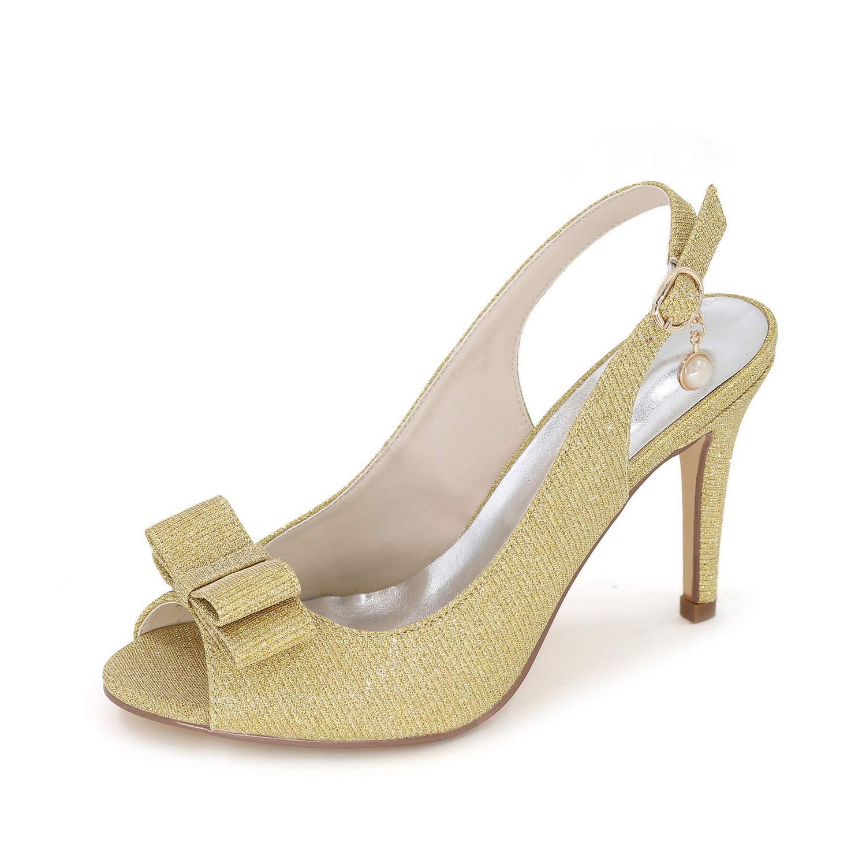 LLBubble Women High Heels Sequin Bridal Sandals Peep Toe Ankle Buckle Heels Party Dress Sandals 5623-18B