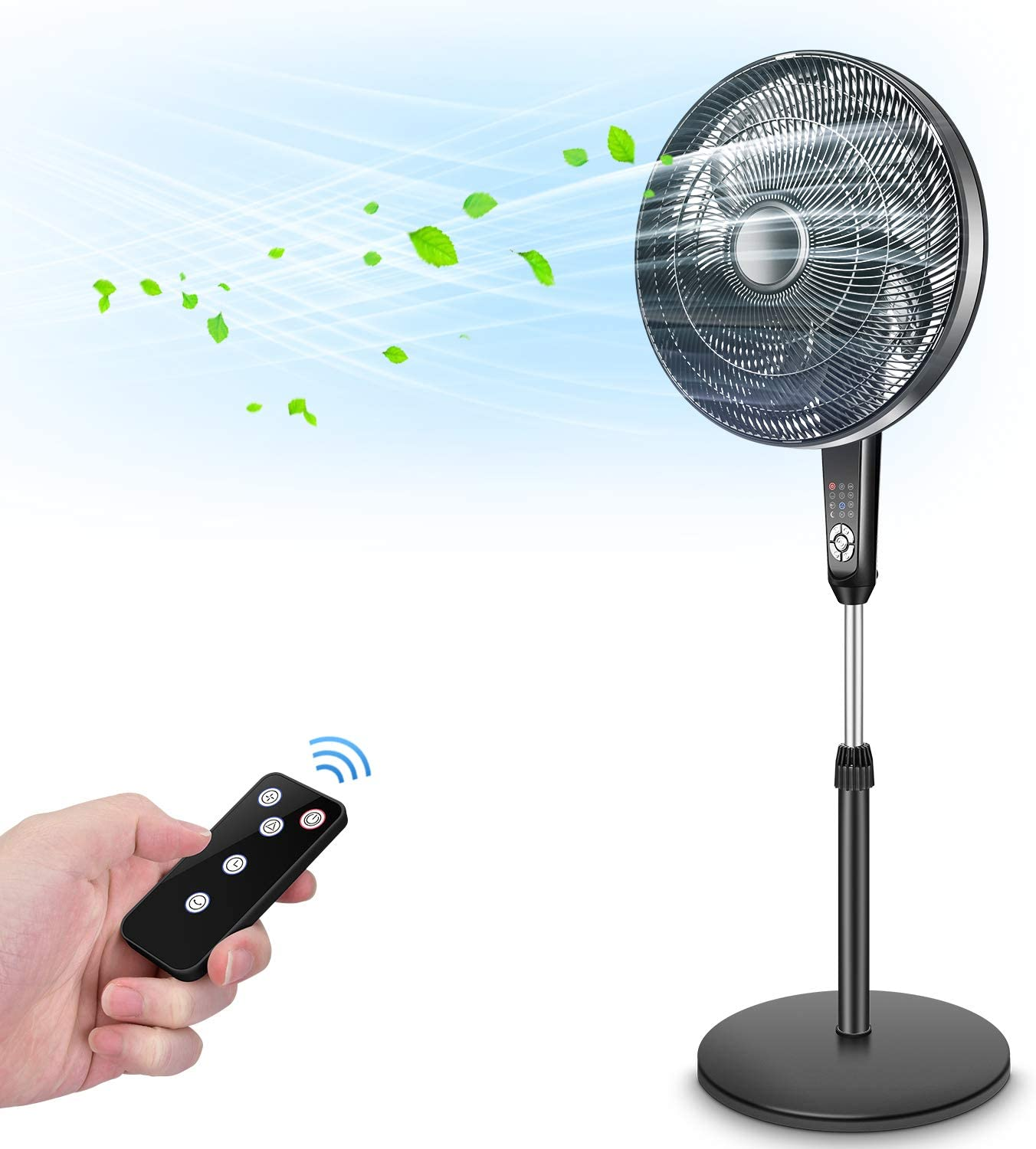 Pedestal Fan - Oscillating Fan with Timer Function, Powerful 4 Speed, 3 Modes, Remote Control, Large Standing Fan, Adjustable Height & Tilt, 2 in 1 Oscillating Pedestal Fan for Living Room, Bedroom,Outdoor Patio