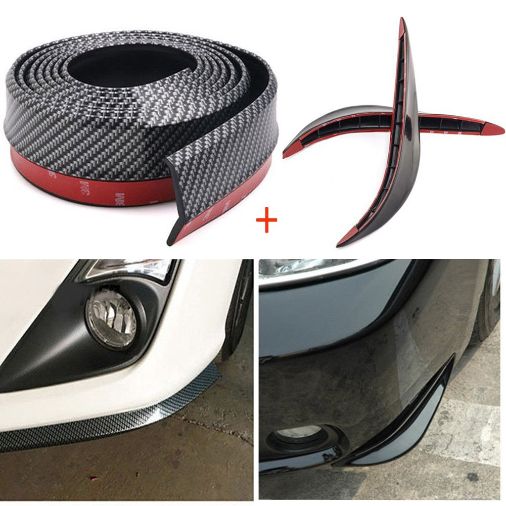 8.2Ft/2.5M Universal Front Bumper Spoiler Rubber Skirt Protector Lip ABS Carbon Fiber for Cars Trucks SUV CNIKESIN