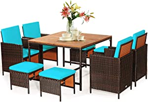 Tangkula 9 Pieces Wood Patio Dining Set, Space Saving Wicker Chairs and Wood Table with Umbrella Hole Outdoor Furniture Set, Suitable for Garden, Yard, Poolside, Outdoor Seating Set(Turquoise)