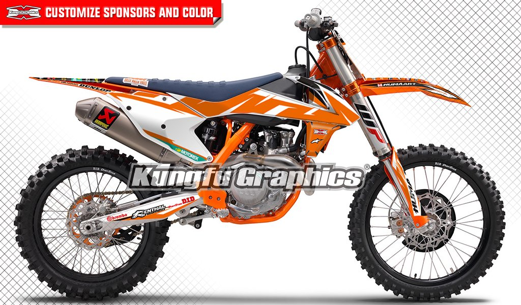 Kungfu Graphics Pattern Custom Decal Kit for 125 150 250 350 450 SX SXF SX-F XCF XC-F 2016 2017 2018 (2016 250sx is NOT included), White Orange