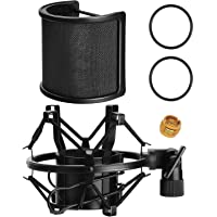 Mic Shock Mount PEMOTech Microphone Shock Mount with Pop Filter for Diameter 46mm-53mm Microphone Such As AT2020 AT2050…