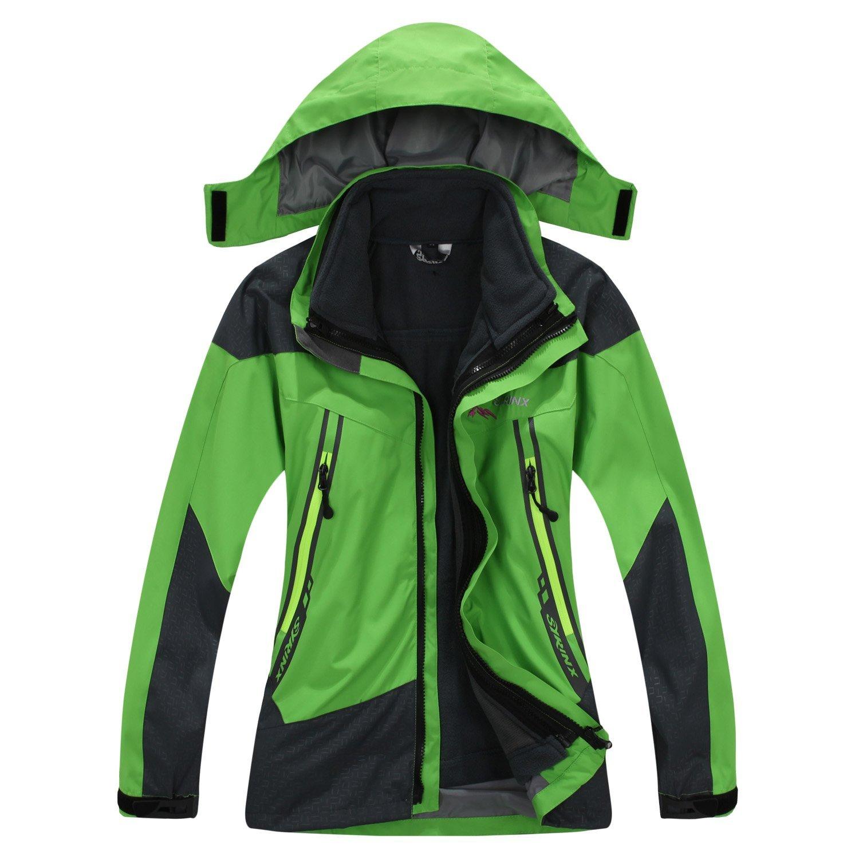 SYRINX Kinder 3 in 1 Wasserdicht Atmungsaktiv Outdoor Camping Wandern Jacke Winddicht Kapuze Mantel mit Fleecejacke