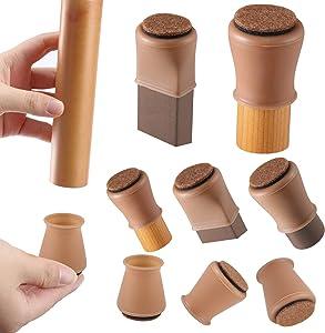 Brown Silicone Chair Leg Floor Protectors w/Felt, Chair Leg Caps Silicon Furniture Leg Feet Cover Slide Protect Wooden Floor No Scratches Table Leg Caps 16Pcs (Medium Fit: 1.2-1.5