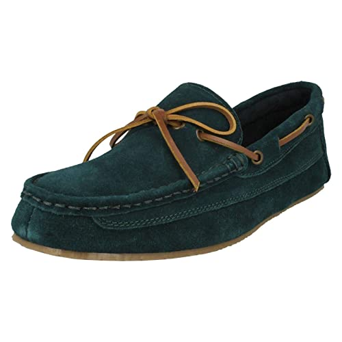 92d134e731a Clarks Mens Crackling Glow Teal Suede Leather Fur Boat Slippers G Fit Size  11