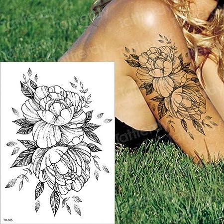 Handaxian 3pcs Imperio Tatuaje Negro Flor Tatuaje 3pcs-3: Amazon ...