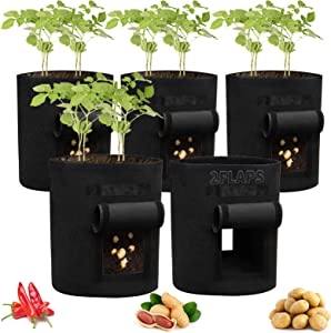 5 Pack Potato Grow Bags 7Gallon Planter Bag with 2 Access Flaps Garden Bags for Vegetable Flower Fabric Planting Pots with Sturdy Handles Potato Planter Bag Breathable Nonwoven Growing Bags Planting