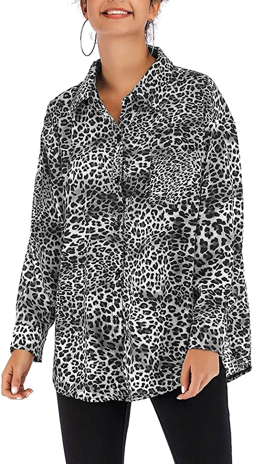FENICAL Camisas de Mujer Camisa con Estampado de Leopardo de Gasa Blusa de Solapa de un Solo Pecho Camisa de Manga Larga Tamaño L (Negro): Amazon.es: Hogar
