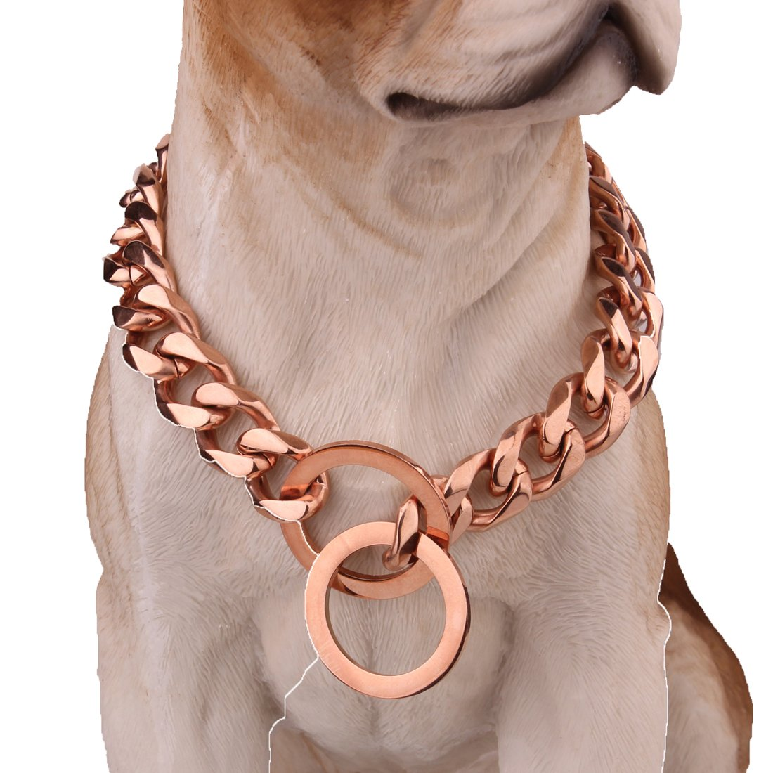 16inch recommend dog's neck 12inch Pet Collar Jewelry 15 17 19mm pink gold Curb Chain Stainless Steel Dog Chain Necklace Choker,12-32 Inches (19mm Wide, 16inch Recommend Dog's Neck 12inch)