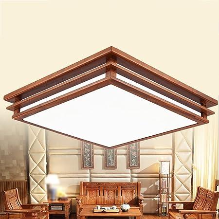 Style wei Ywyun Moderno Techo de Caoba China, Madera Minimalista luz de Techo del LED, salón Cuadrado Dormitorio lámpara Decorativa: Amazon.es: Hogar