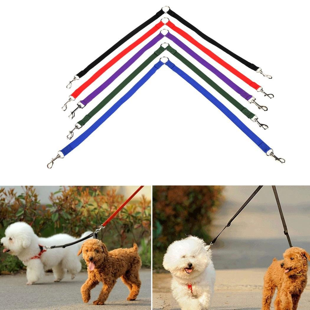 Red Meflying Strong Double Dog Lead Leash Couple Pet Collar Leash for Collar Harness   Walk 2 Dogs with Ease (Red)