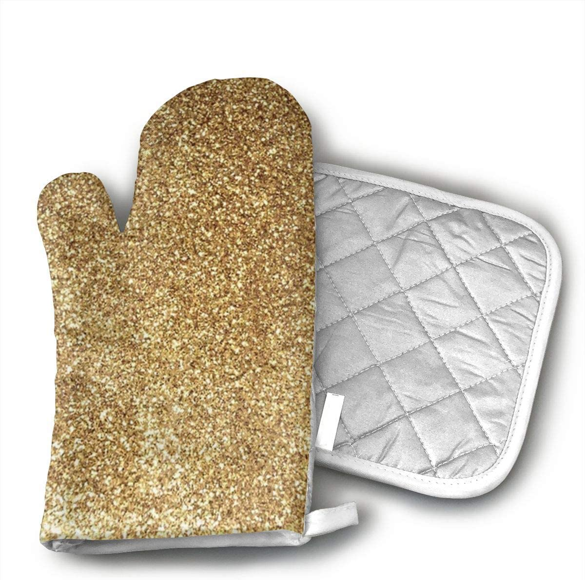 Wiqo9 Placer Gold Grinding Oven Mitts and Pot Holders Kitchen Mitten Cooking Gloves,Cooking, Baking, BBQ.