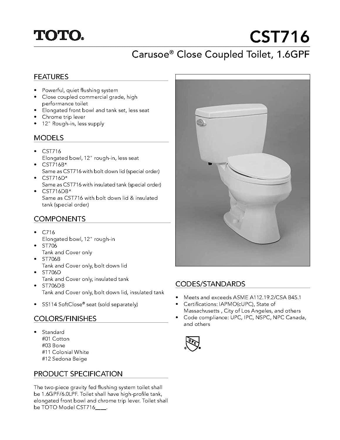 Toto CST716DB Sedona Beige Carusoe Two Piece Toilet, Insulated Tank ...