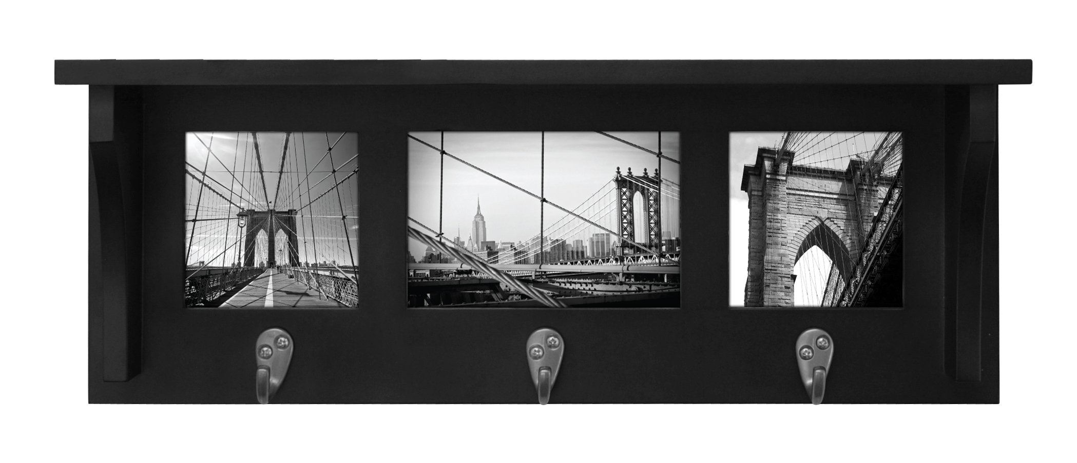 kieragrace Riley Wall Shelf and Picture Collage with 3 Hooks, 18.5-Inch by 7-Inch, Holds 2- 4 by 4-Inch and 1- 4 by 6-Inch Photo, Black by kieragrace