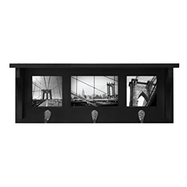 Kiera Grace Riley Wall Shelf and Picture Collage with 3 Hooks, 18.5-Inch by 7-Inch, Holds 2- 4 by 4-Inch and 1- 4 by 6-Inch Photo, Black