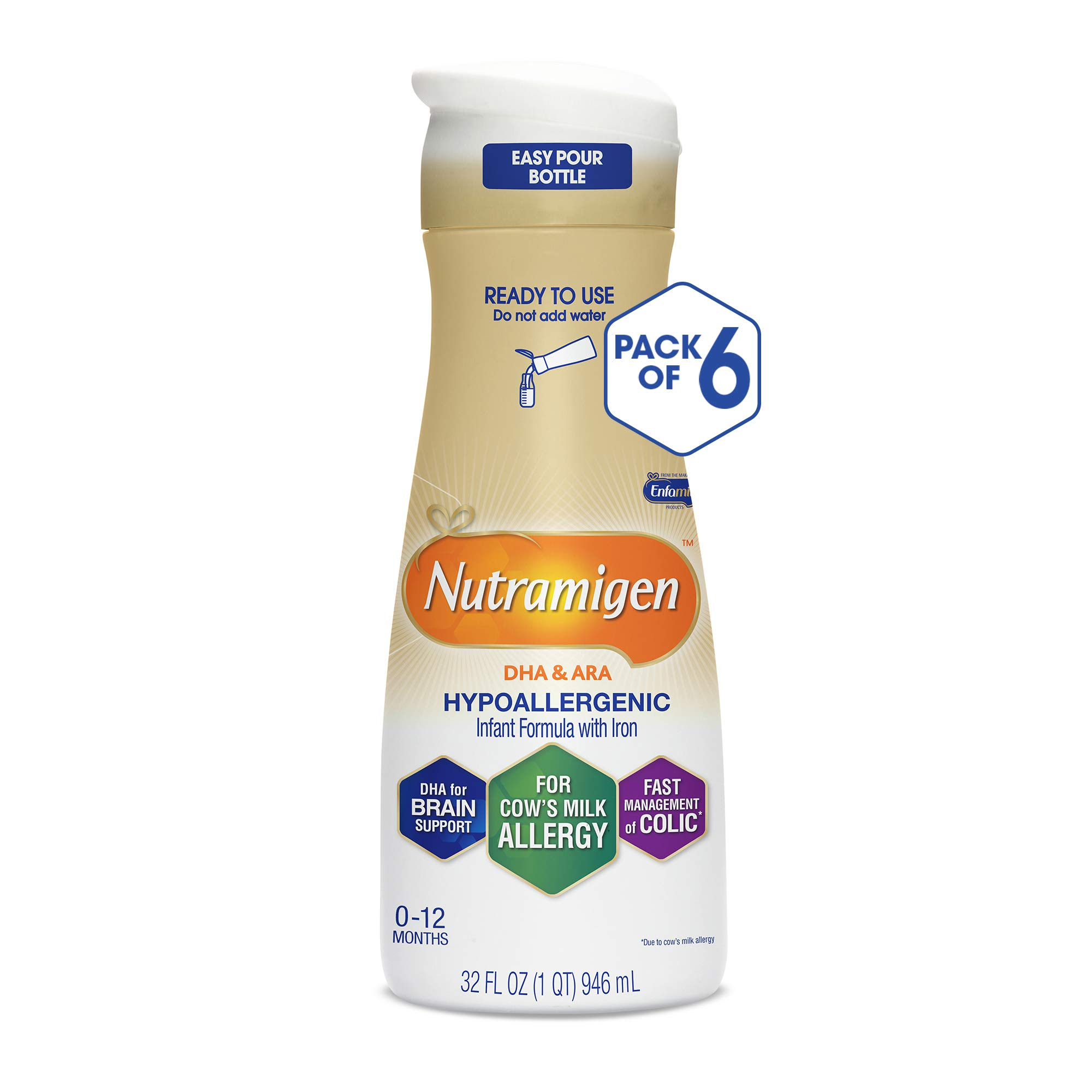 Enfamil Nutramigen Hypoallergenic Ready to Feed Colic Baby Formula Lactose Free Milk, 32 fluid ounce (6 count) - Omega 3 DHA, Probiotics, Iron, Immune Support