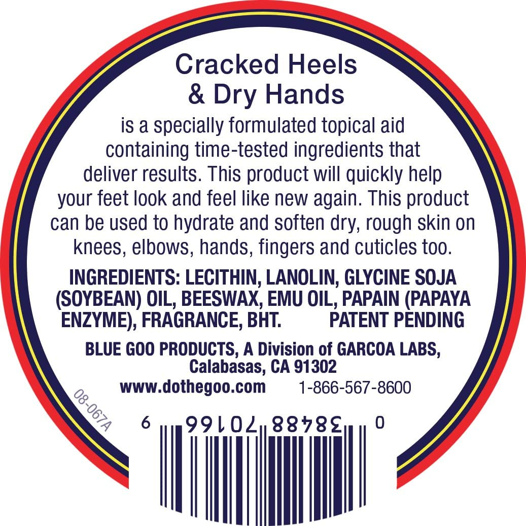 BLUE GOO Cracked Heels & Dry Hands Skin Softener for Dry Feet, Hands, Hydrating and Smoothing, Moisturizer, Dryness Relief, 2 Ounce, Made with 100% Pure EMU Oil: Health & Personal Care