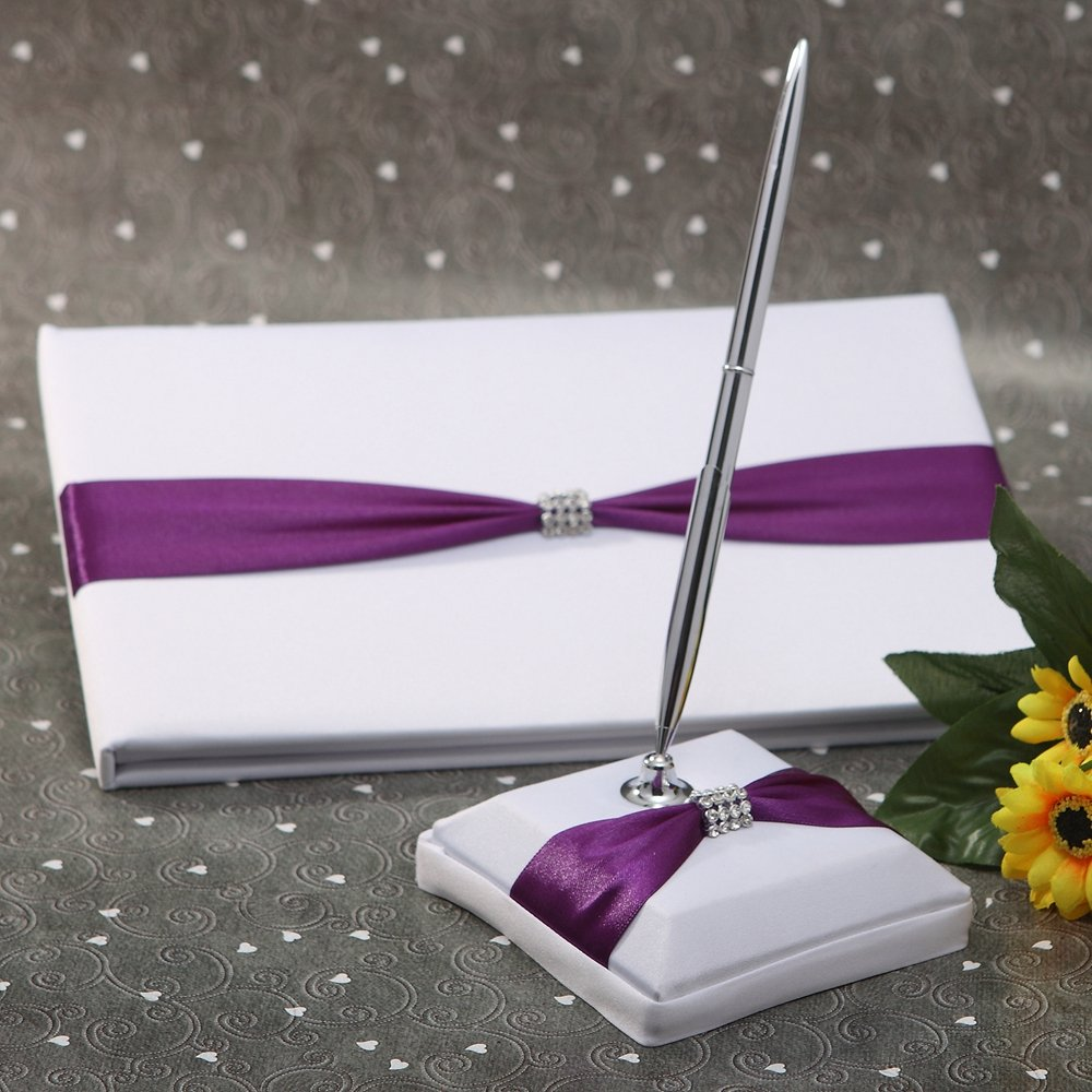 KateMelon Purple Knot with Rhinestone Wedding Guest Book and Pen Set