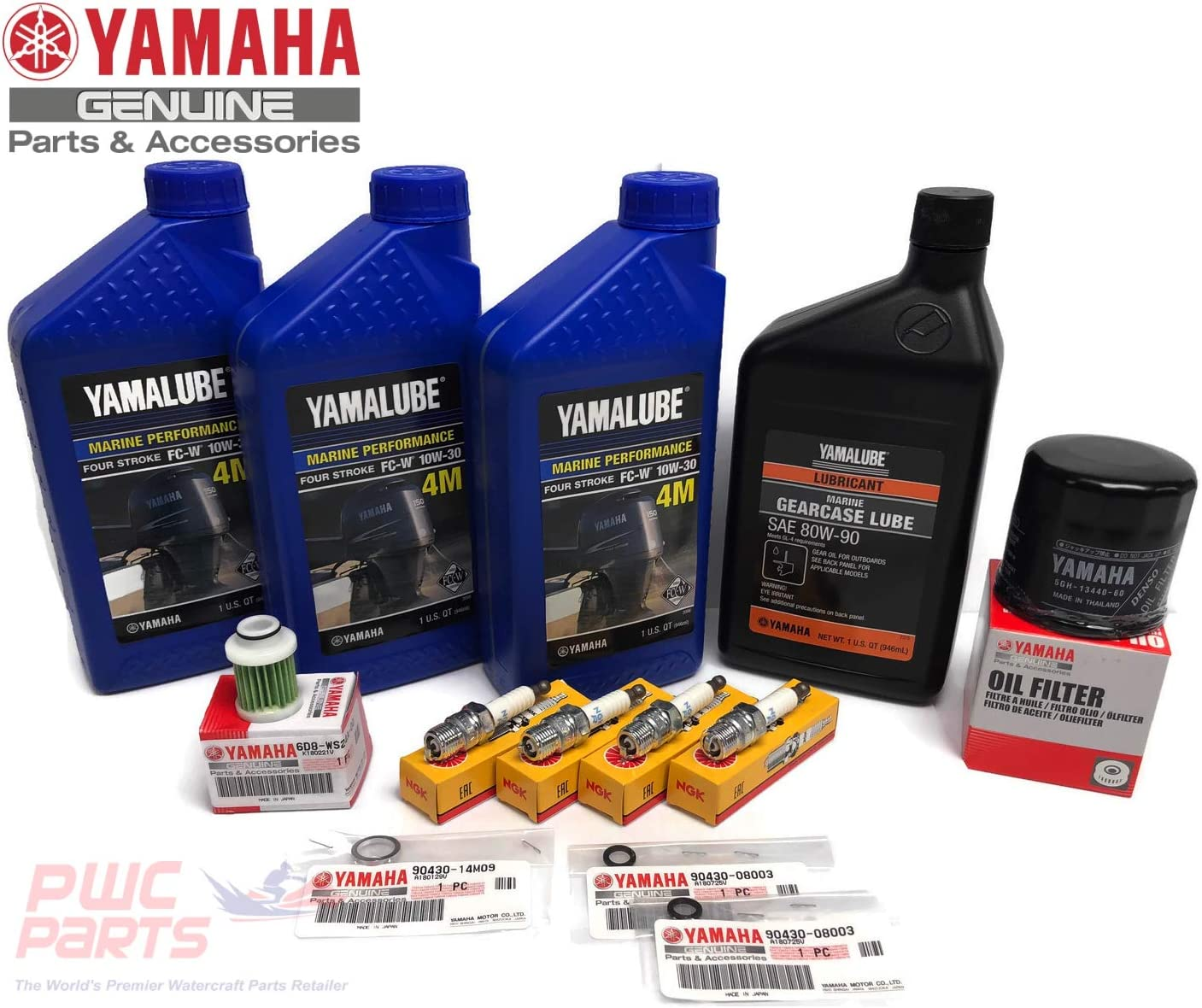 YAMAHA OEM 2010+ F70 F70LA Outboard Oil Change 10W30 FC 4M Lower Unit Gear Lube Drain Fill Gasket Spark Plugs NGK LKR7E Primary Fuel Filter Maintenance Kit