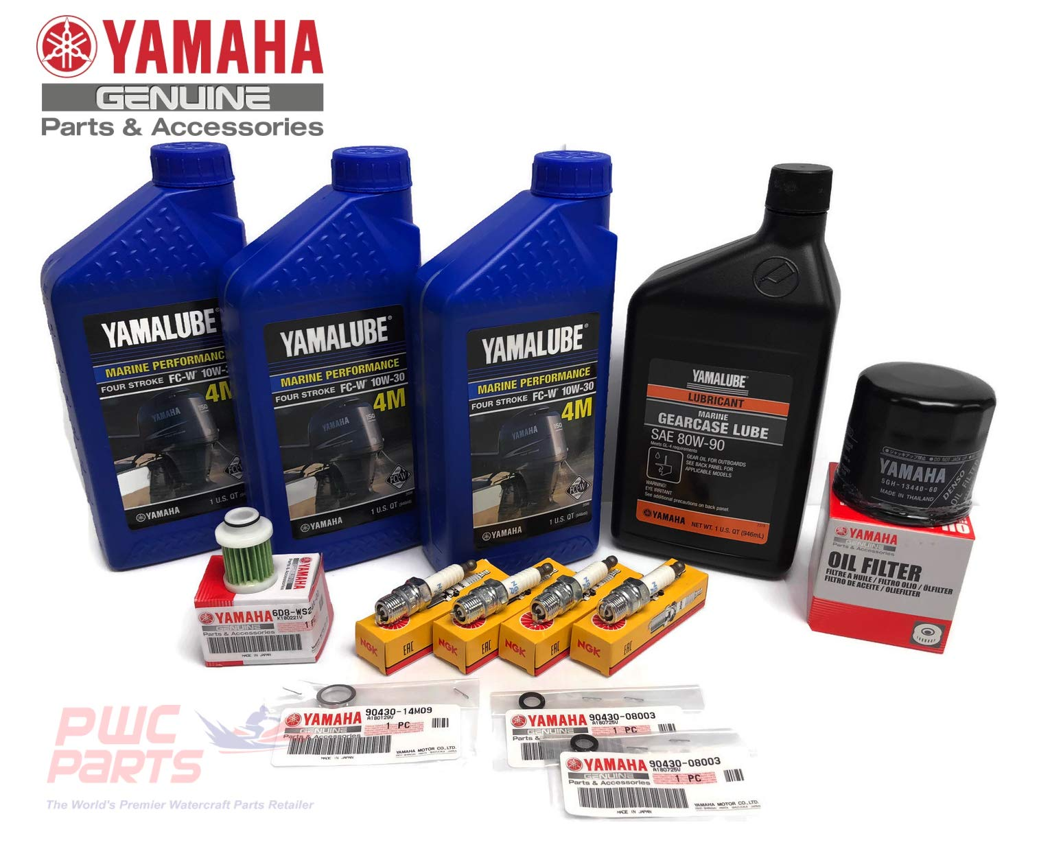 YAMAHA OEM 2006+ F50 T50 F60 T60 Outboard Oil Change 10W30 FC 4M Lower Unit Gear Lube Drain Fill Gaskets Fuel Filter Spark Plugs NGK DPR6EB-9 Maintenance Kit by PWC Parts Co