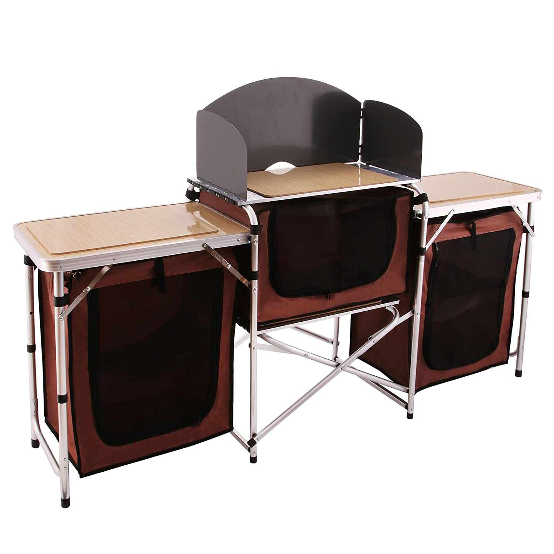 Moracle Cocina de Camping Utensilios de Cocina para Acampada Cocina para Acampar 175x48x111 cm Armario de Camping con Bolsas Aluminio 3 Compartimentos con Pretensi/ón a Prueba de Viento