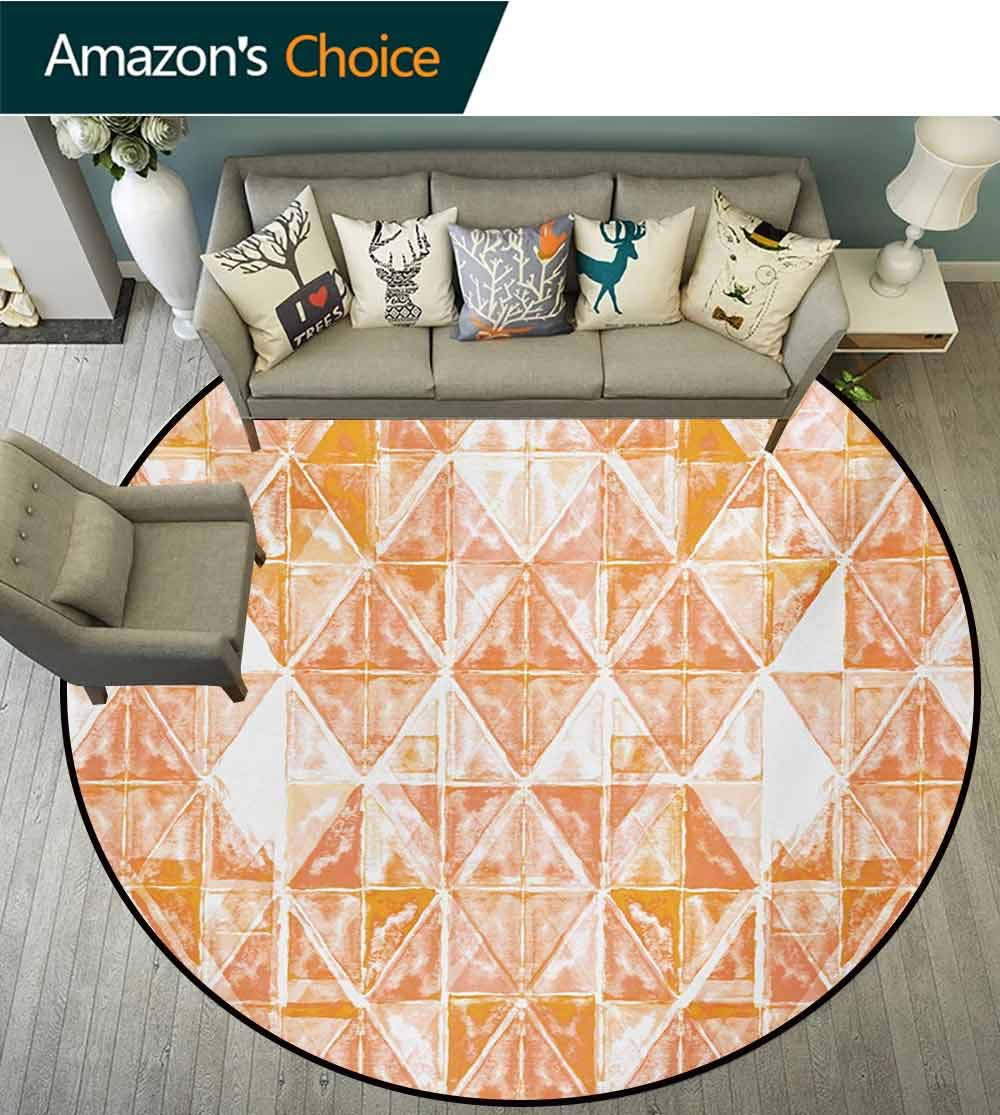RUGSMAT Coral Small Round Rug Carpet,Raster Based Pattern with Watercolor Triangular Grid Hand Drawn Geometric Door Mat Indoors Bathroom Mats Non Slip,Round-55 Inch Coral Orange White by RUGSMAT (Image #2)