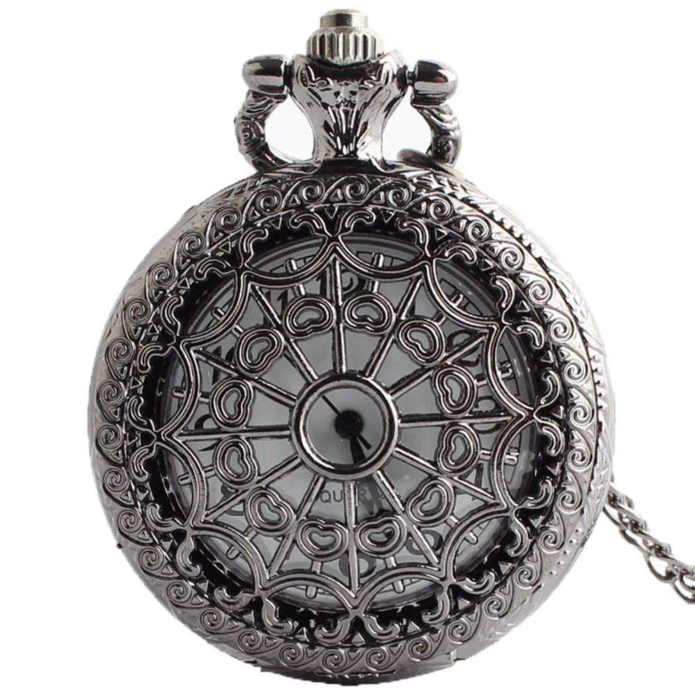 Shirleyle Black Vintage Antique Long Chain Pocket Watch Unisex Round Watch by Shirleyle (Image #1)