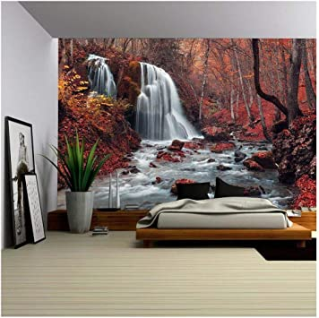 Autumn Wall Mural Removable Wall Mural Trees Wall Art Wallpaper Autumn Peel And Stick Waterfall Wall Decal Self Adhesive Vinyl