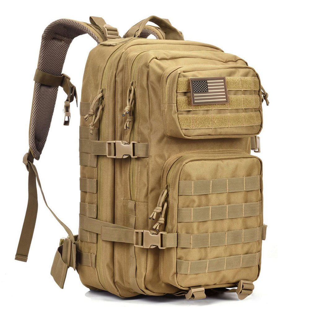 Military Tactical Backpack Large Army 3 Day Assault Pack Molle Bug Out Bag Backpack Rucksacks for Outdoor Hiking Camping Trekking Hunting REEBOW GEAR