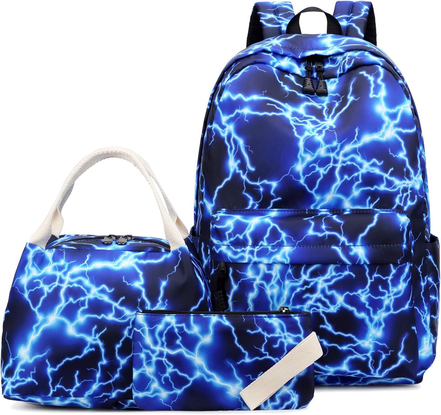 School Backpacks for Teen Girls Boys Lightweight Kids Bookbags Travel Backpack Set (8870-3 Blue)