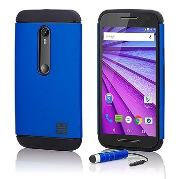 32nd Funda Armadura Rigida Slim Armour con Doble Carcasa para Motorola Moto G 3 (3rd Gen / 2015) - Azul