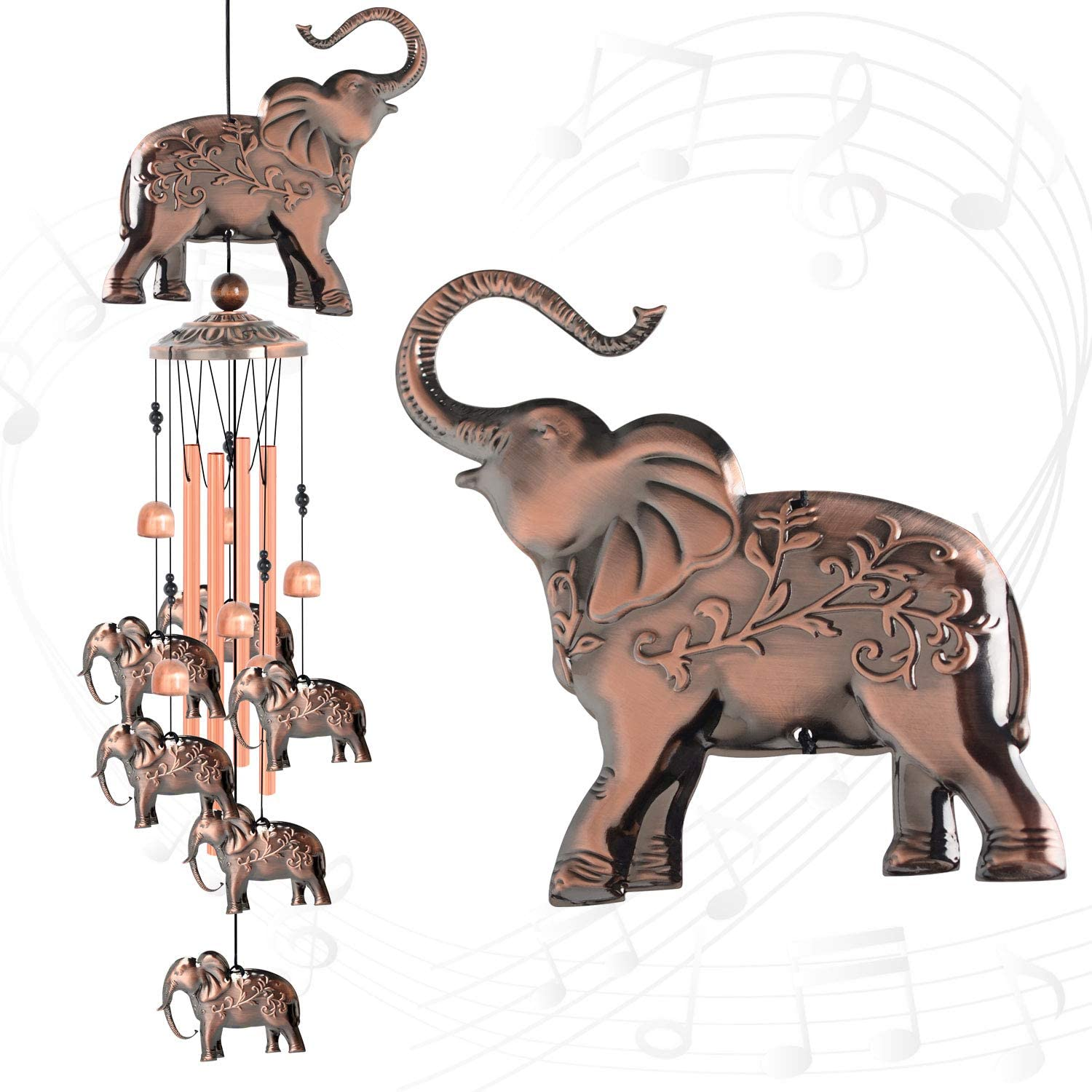 ShangTianFeng Elephant Copper Wind Chimes for Outside Elephant Gift windchimes Garden decorationsoutdoor Christmas Wind Chime Birthday Gifts for mom Gift for Grandma