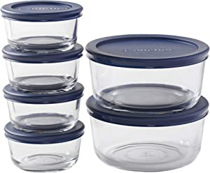 Anchor Hocking Round Food Storage Containers with Navy Lids, Mixed Sizes (12-piece, BPA free reusable lids, tempered tough for oven, fridge, and freezer), multi (14035ECOM)