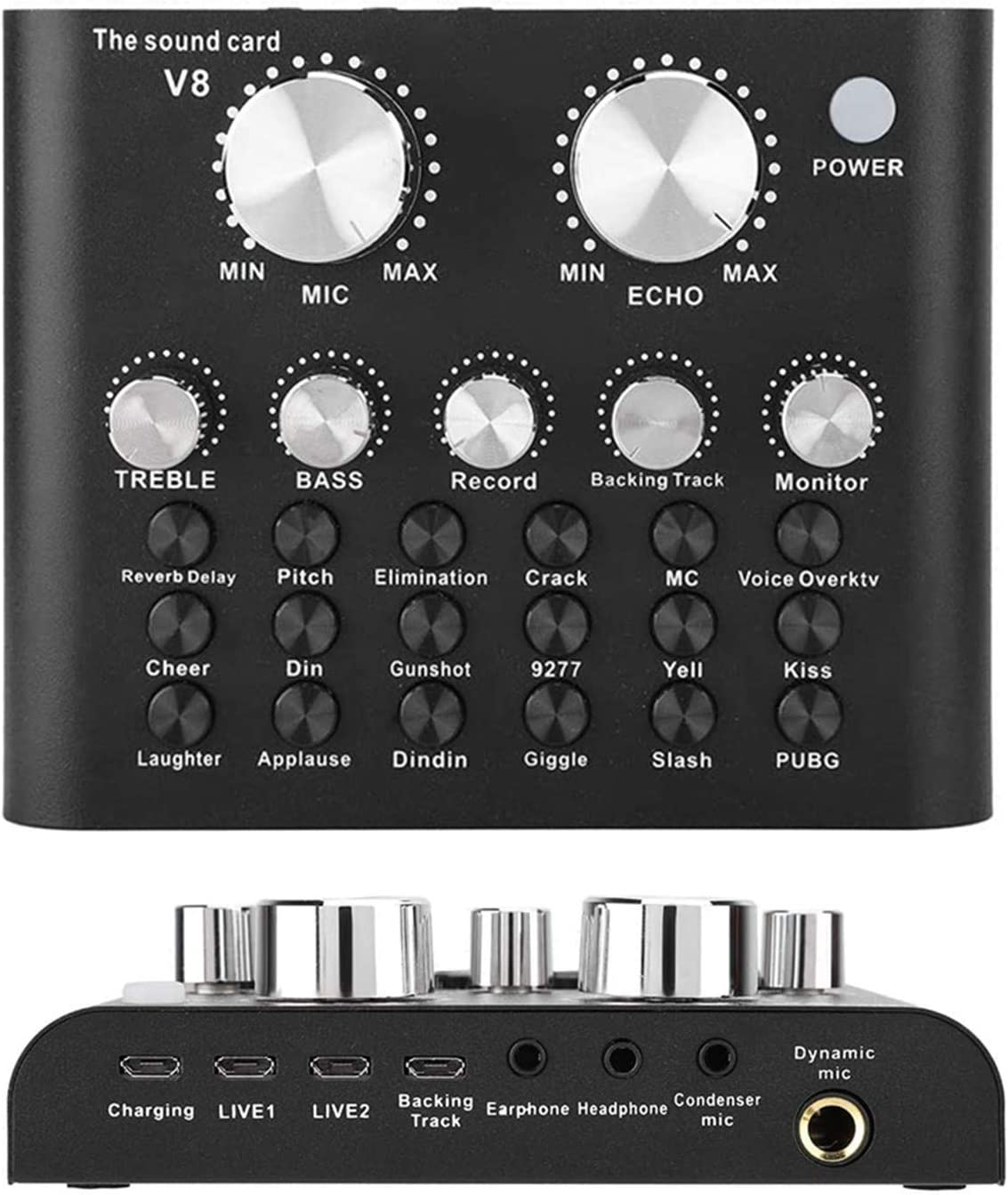 REMALL Bluetooth Mini Sound Mixer Board for Live Streaming, Voice Changer Sound Card with Effects, Audio Mixer for Music Recording Karaoke Singing Broadcast on Cell Phone Computer Laptop Tablet -V8A2