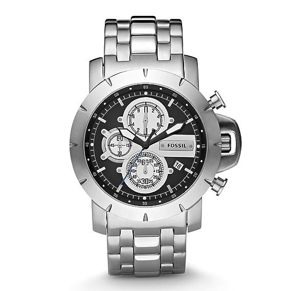 Fossil JR1265 - Reloj cronógrafo de cuarzo para hombre con correa de acero inoxidable, color plateado: Fossil: Amazon.es: Relojes