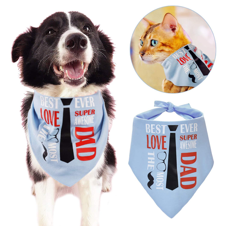Legendog Dog Bandana Personalised Dog Bandana \'I LOVE DAD\' Theme Pet Bandana Creative Scarf Pet Bib for Medium Large Cat Dog