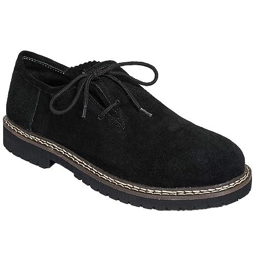 Gesteiner Leather Haferlschuhe Trachtenschuhe Herren Trachten Lederschuhe Schuhe aus Wildleder Trachtenschuhe für Trachtenhose Braun mit seitl.