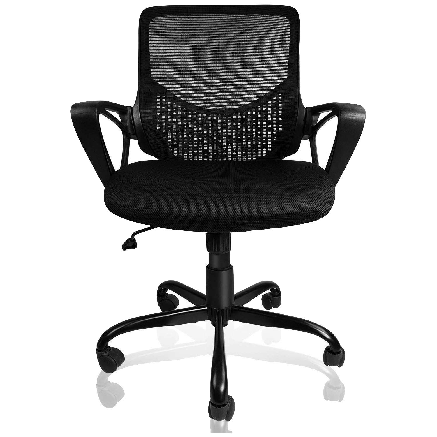 SmugOffice Office Chair, Computer Desk Chairs for Conference Room Home Office with Armrests, Ergonomic Lumbar Support Comfortable Mesh Task Chair, Black
