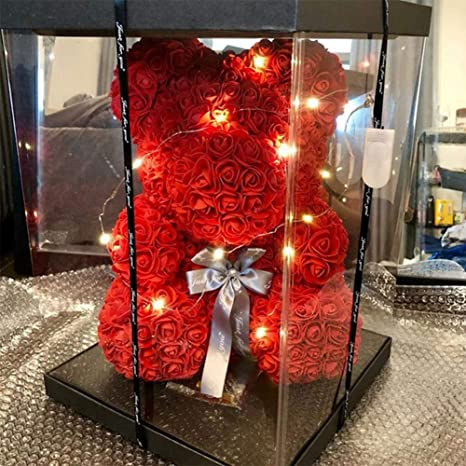 YARDBEAR Roses Flower LED Bear, Artificial Love Heart Bear ...