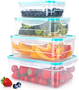 Food Container Set, 4 PCS Rectangle Container with Removable Drain Plate Lids, Airtight Container for Kitchen Storage, BPA-Free, Dishwasher Safe, Perfect for Keeping Fruits, Vegetables, Meat, Fish