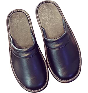 e31c2a004 Amazon.com | Cattior Mens Solid Summer Leather Slippers Open Toe ...