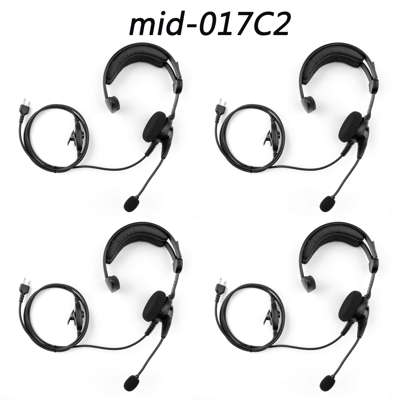 Artudatech 4PCS Over-The-Head Earpiece Headset Mid-017C2 Microphone Noise Cancelling