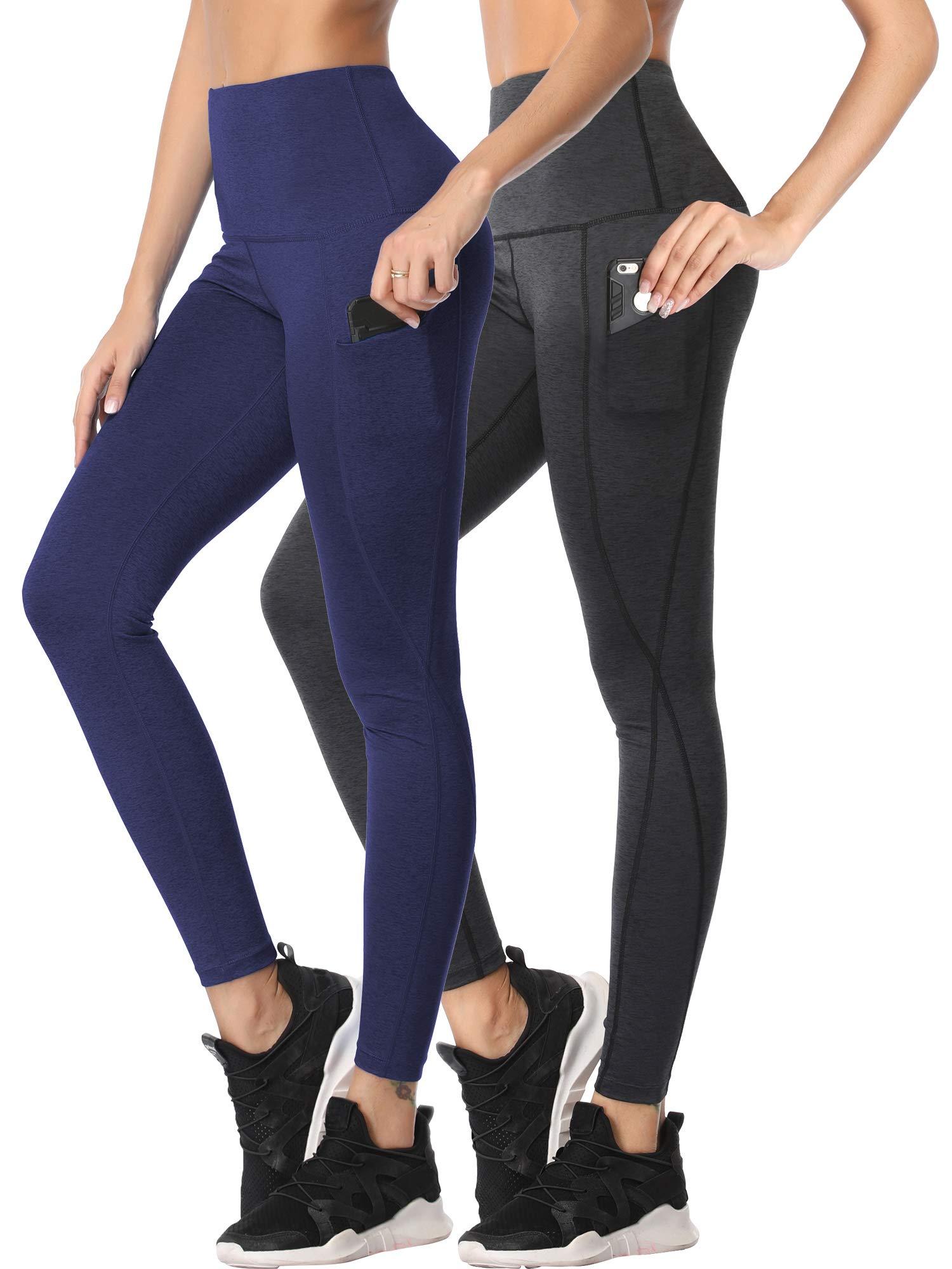 Cadmus Womens Tummy Control Running Leggings for Yoga,1102,Dark Grey & Navy Blue,Small