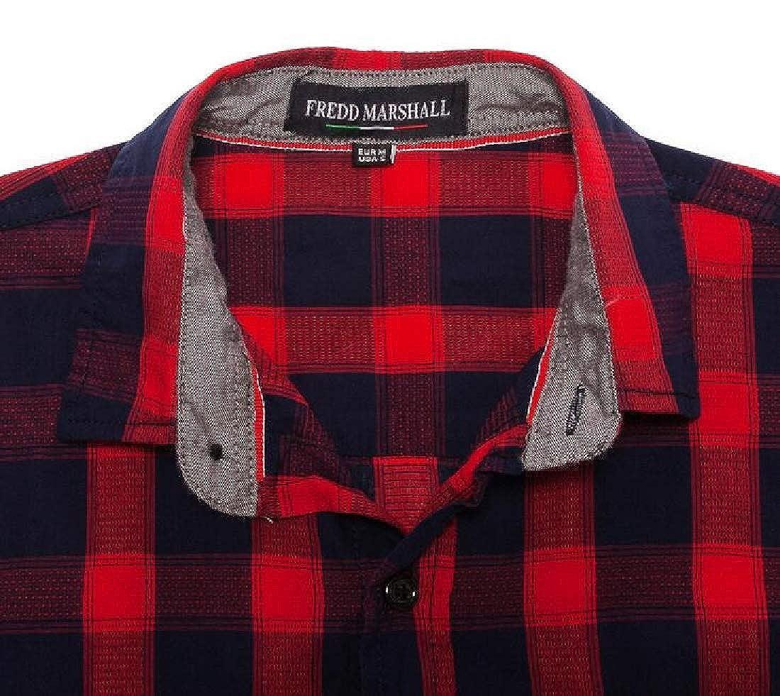 ARTFFEL Mens Casual Long Sleeve Lapel Neck Plaid Cotton Button Down Dress Work Shirt