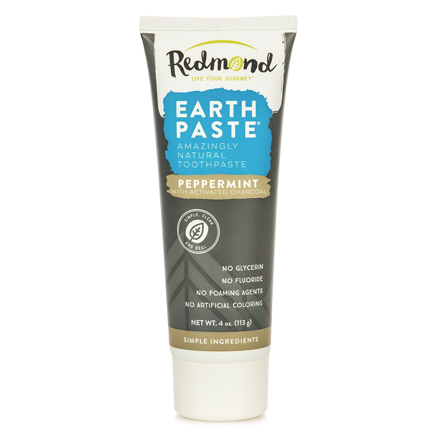 Redmond Earthpaste - Natural Non-Fluoride Toothpaste, Peppermint Charcoal, 4 Ounce Tube (1 Pack)
