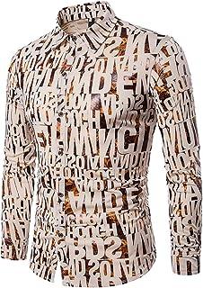 hower Men's Dress Shirts Long Sleeves Button Down Print Slim Fit Dress Shirt