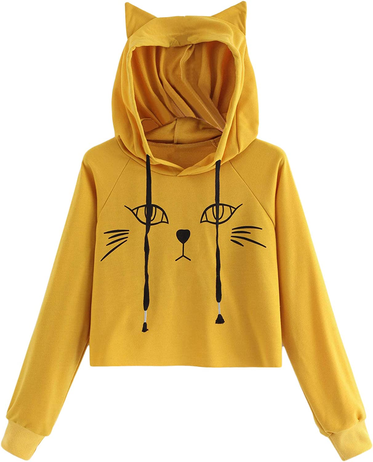 SweatyRocks Women's Long Sleeve Hoodie Crop Top Cat Print Sweatshirt